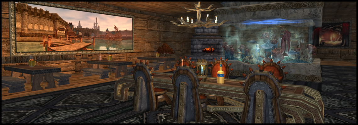 The interior of a player-built log cabin in the snowy woods. Love the aquarium!