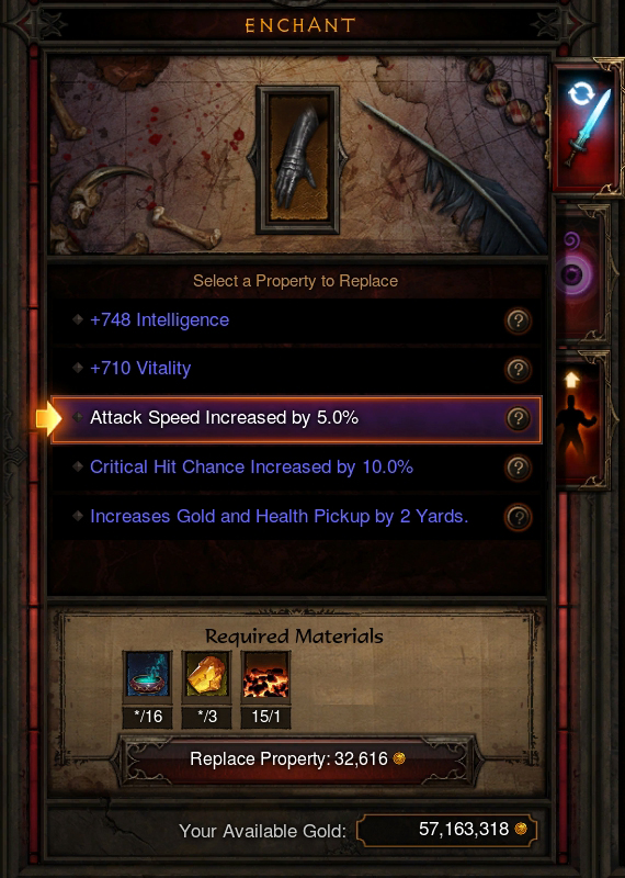 You now have the ability to re-roll (as many times as you want) one modifier of any given item, provided you have the materials and gold.