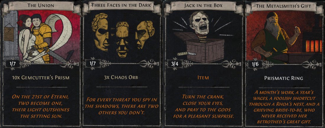 Worn out on crafting or hunting for items? Not a problem. Divination Cards can be used to acquire a variety of items!