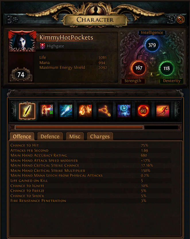The PoE Character Screen, complete with Attributes and support values.