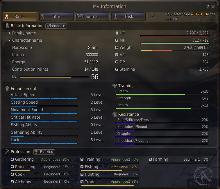 My main character's stats.