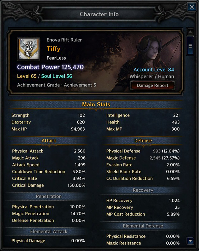 The Character Stats Window